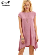 Buy Dotfashion 2016 Summer Pink Cap Sleeve Asymmetrical Short Dress Casual Ladies Wear Round Neck Loose Mini Dress for $10.98 in AliExpress store