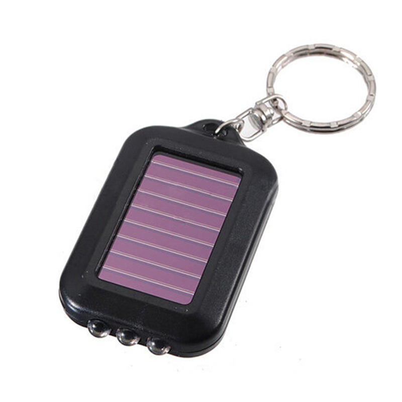 Portable Mini 3 LED Solar Power Flashlight Light Lamp Keychain torch Real Solar Chargable(China (Mainland))