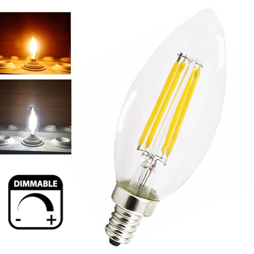 Dimmable 2W 4W LED E14 Filament Bulb Candelabra Light 220V European Base LED Torpedo Shaped Candle Lamp(China (Mainland))
