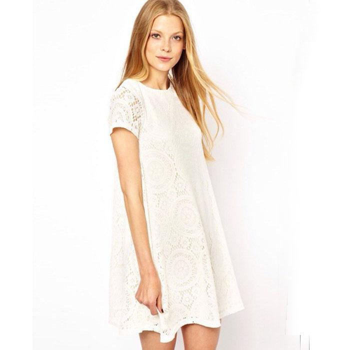 Selljimshop New Summer Women's Ladies' Short Sleeve Lace White Black Causal Dress Plus size vestidos(China (Mainland))