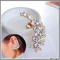 2014 New arrival Crystal ear cuff earrings Gold rhinestone ear clips for women clip earrings cuff Fashion Girls earrings clips