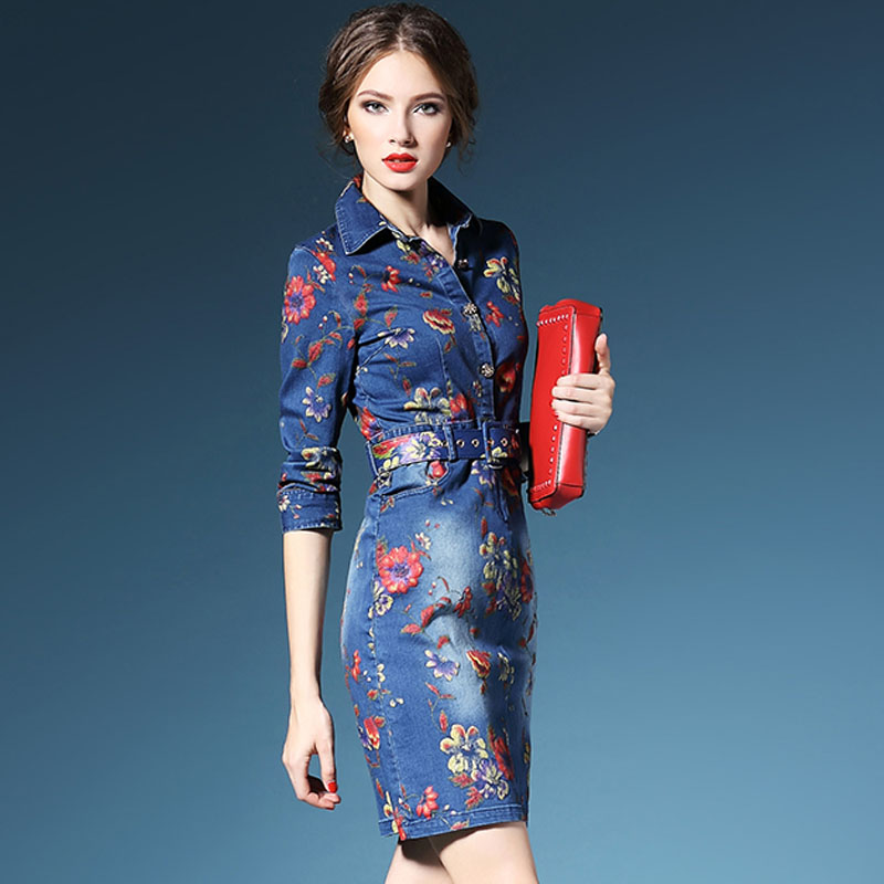 2016 New Long Denim Dresses Women Spring Autumn Vintage Print Fashion Office Robe Floral Pencil Blue Jeans plus size Dress RB003