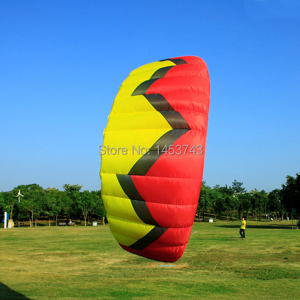FREE SHIPPING Red 5 Sqm Power Kite For Surfing Water Sports Buggying Boarding High Quality Kite Line, Control Handles Include(China (Mainland))