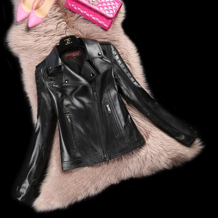 leather jacket women 2015 Spring  Autumn Winter Streetwear Full Regular Turn-down Collar Thin Motorcycle leather jacket DFF168