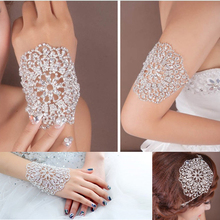 2014 New Arrived Multi-Fonction Crystal Clear Rhinestone Bridal Wedding Armlet Bracelets Chain For Wrist Bridal Hair Accessories(China (Mainland))