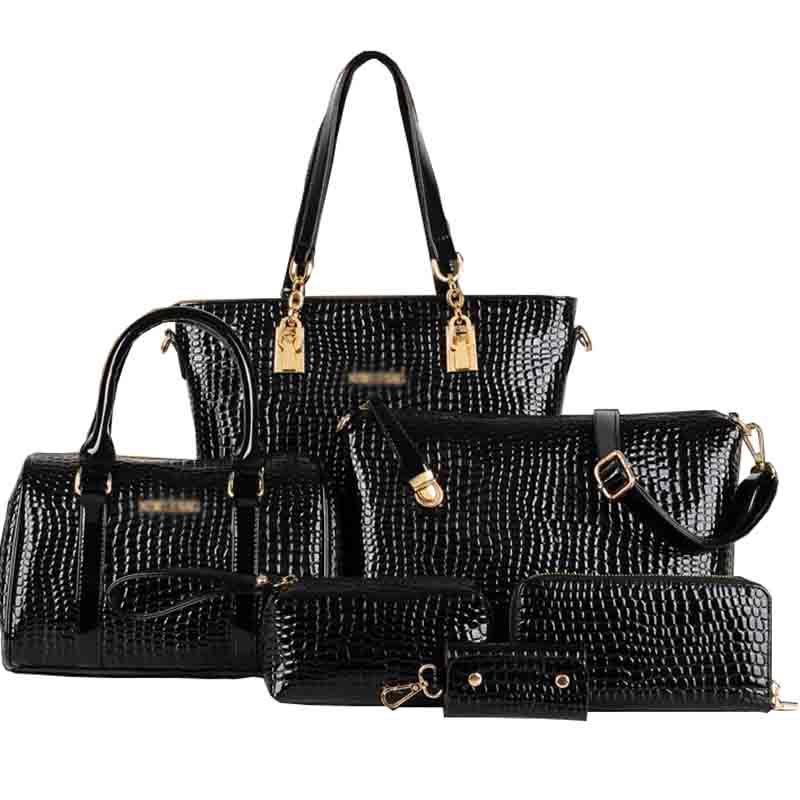 Гаджет  6 PCS/Set Women Bag Crocodile Pattern Composite Bag Stone Women Messenger Bags Shoulder Handbag Purse Wallet PU Leather Handbags None Камера и Сумки
