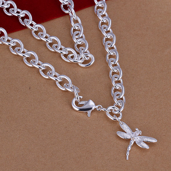 Free Shipping, Thick Chain Dragon Fly Pendant necklace Silver Plated Necklace. N253(China (Mainland))