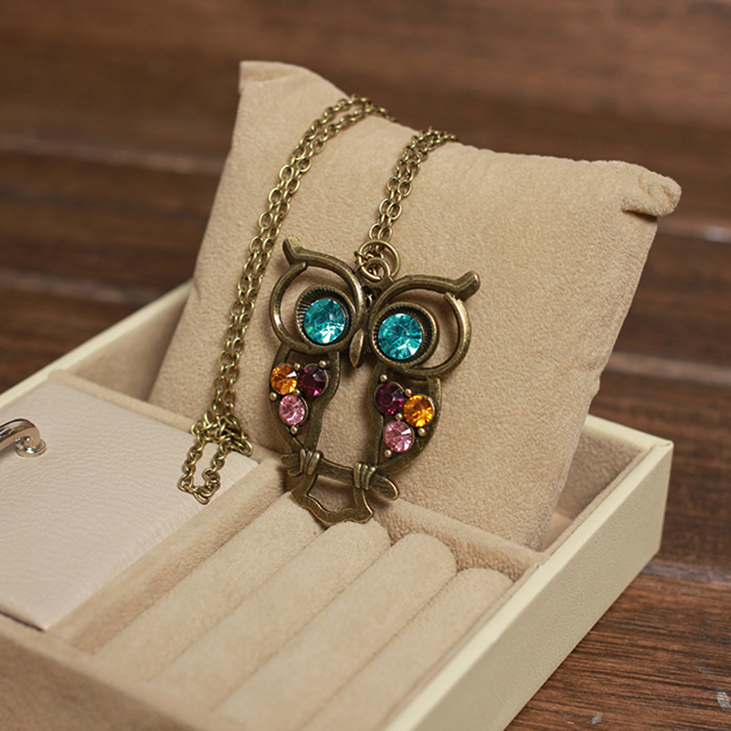 2015 Best Selling Vintage Jewelry Crystal Bronze Owl Pedants Neckalce For Women New Statement Collar Necklaces Wholesale Price(China (Mainland))