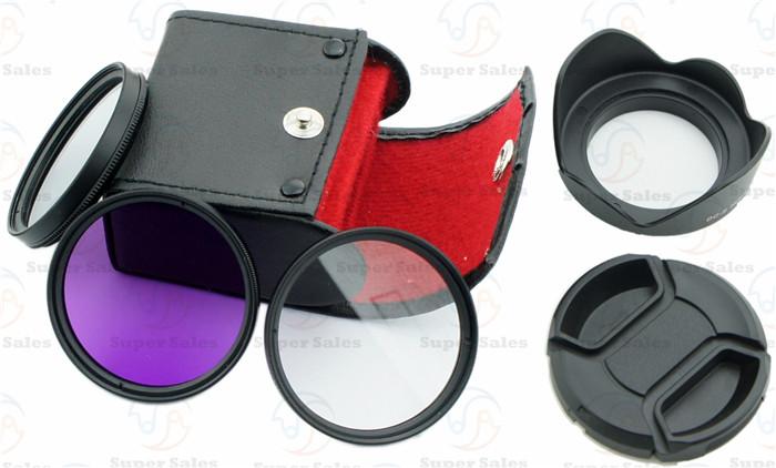 Гаджет  58mm UV + CPL + FLD Filter Kit for Canon EOS 1100D 1000D 650D 600D 18-55mm Lens + Petal Flower Lens Hood + Center-Pinch lens cap None Бытовая электроника