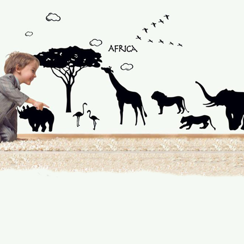 2016 New 3d African Animal Wall Stickers for Kids Room Wall Decal Removable Giraffes Tree Horse Wall Sticker Poster Home Decor(China (Mainland))