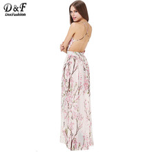 Dotfashion 2016 Summer Fashion Women Dresses Sexy Elegant Party Spaghetti Strap Backless Floral Print Maxi Dress(China (Mainland))