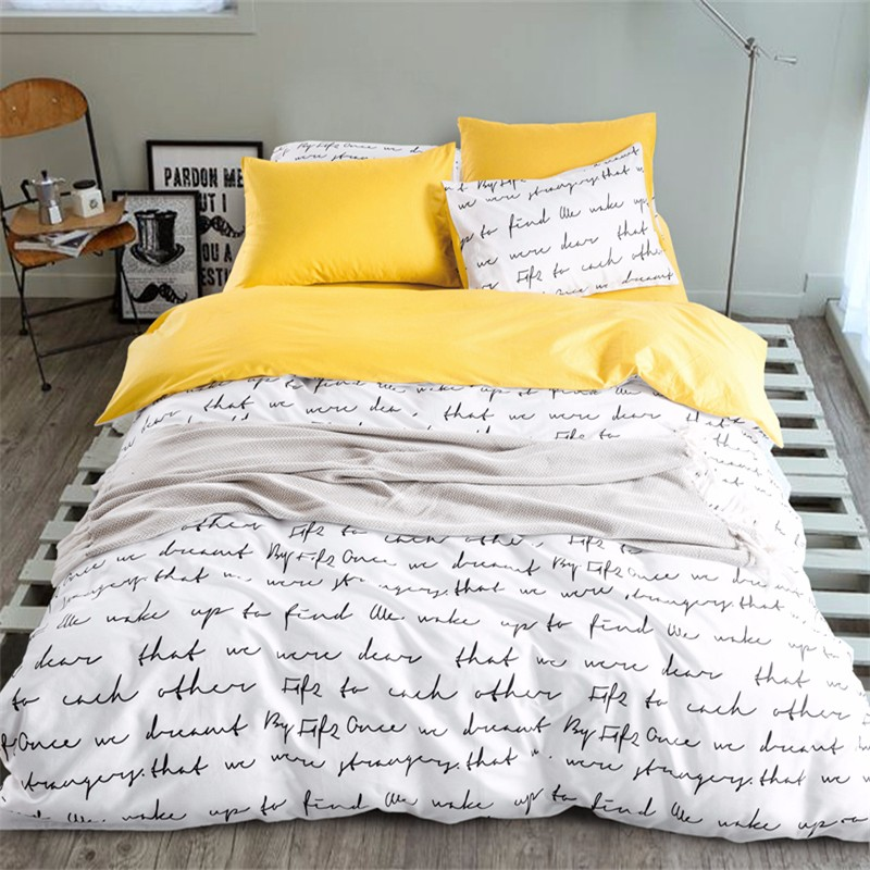 sleepwish yellow bedding set simple style bed sheet for home quilt cover soft cotton bedclothes. Black Bedroom Furniture Sets. Home Design Ideas