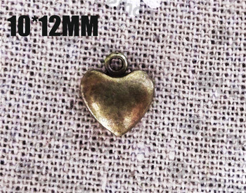Free ship! 100pcss/lot 10x12mm heart antique bronze charm pendant jewelry connector jewelry accesorry findings