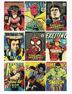 Full-page spoof of superheroes post-punk pop retro Post-Punk Hero stickers notebook stickers carton  1-20