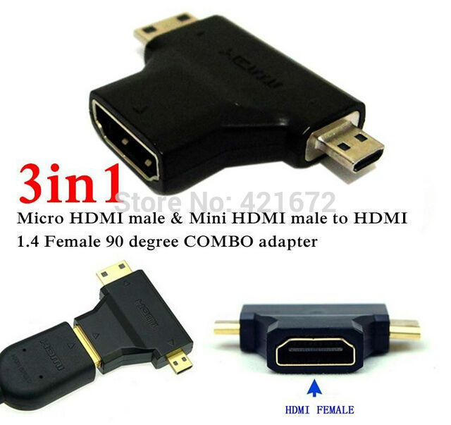 3 in 1 1080P 1.4V Micro HDMI / Mini HDMI Male to HDMI Female Adapter Connector COMBO adaptador for Cable HDTV DVD PS3 Free Ship(China (Mainland))