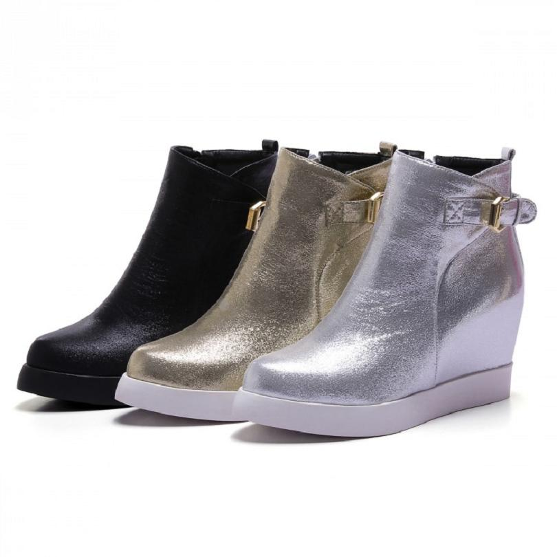 black gold silver women comfortable ankle boots shiny sequined wedge platform height increasing booties Shoes plus size 35-43(China (Mainland))