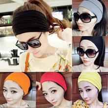 Women Stretch Turban Headband Sport Accessory Dance Biker Wide Headbands Cotton Head Wrap Bandana Headwear Hair Accessories(China (Mainland))