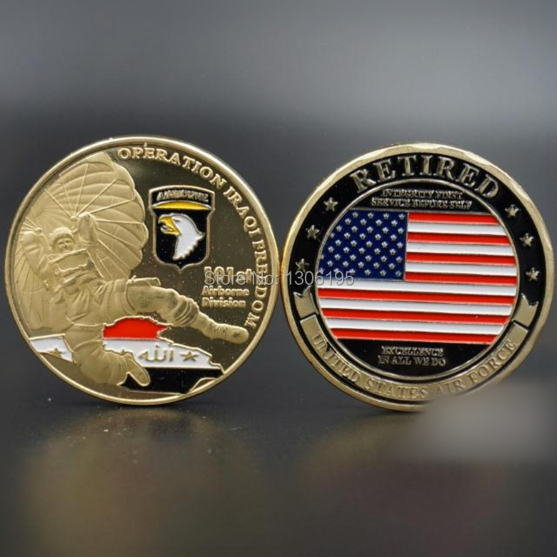 10 pcs/lot, wholesale [mix]101st airborne USAF +retired Air force United States souvenir coins gold plated gift products(China (Mainland))