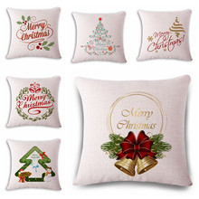 "Buy Square 18"" Merry Christmas Pillow Cover Vintage Knitted Decorative Pillows fa Linen Cushions Cover for $3.49 in AliExpress store"