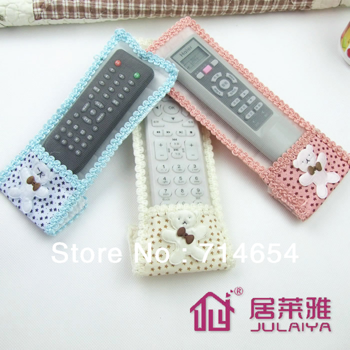 10pcs/Lot Free Shipping Bear Cartoon TV DVD Remote Control Cover Lace Cloth Cover Set Dust Cover Home Decoration Supplies(China (Mainland))