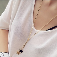 Buy 2016 Korean Fashion Women Accessories Allloy Pendant Necklace Five-pointed stars Long Necklace Sweater Chain for $3.99 in AliExpress store