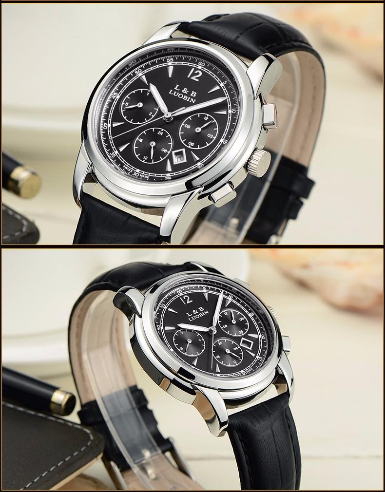 Новый Классическая Мода Кварцевые Часы Мужчины 3 Суб-Набор Бизнес Спортивные Часы Кожаный Ремешок Световой Часы Водонепроницаемые