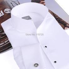 Moda uomo tuxedo shirt, francese gemelli banchetto, camicia a maniche lunghe classico collare del basamento 100% cotone di alta gurantee di qualità(China (Mainland))