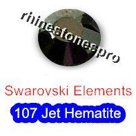 ss20 GENUINE Swarovski Elements Jet Hematite ( 107 ) 144 pcs ( NO hotfix Rhinestone ) Crystal Glass 20ss 2058 FLATBACK Bulk(Hong Kong)