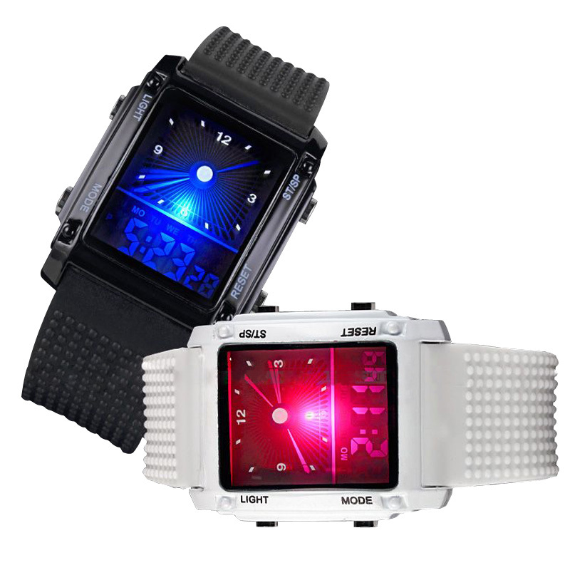 Best Sport Digital LCD Dual Time Date Day Alarm Stopwatch Silicone Cool Wrist Watch for Men(China (Mainland))