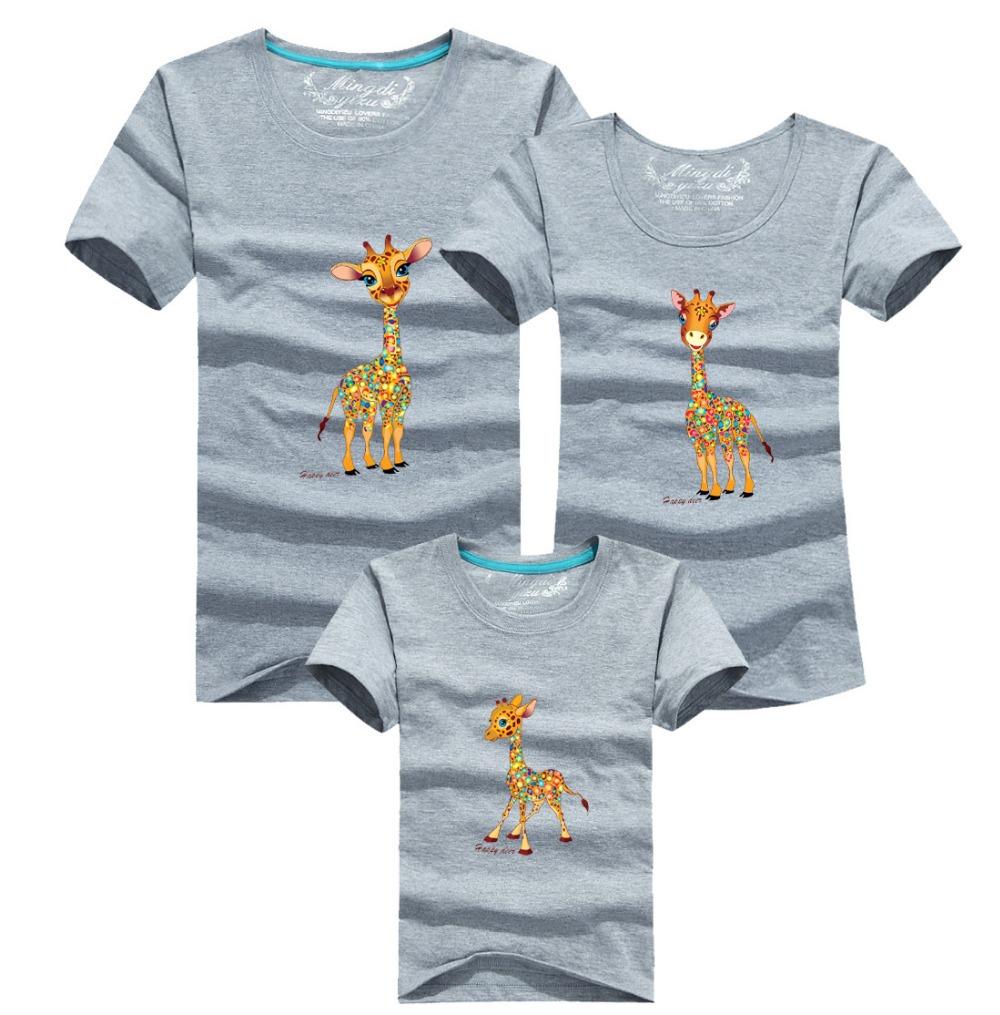 Семья родитель - дети футболки хлопок младенцы папа мама комикс жираф семья соответствующие одежда