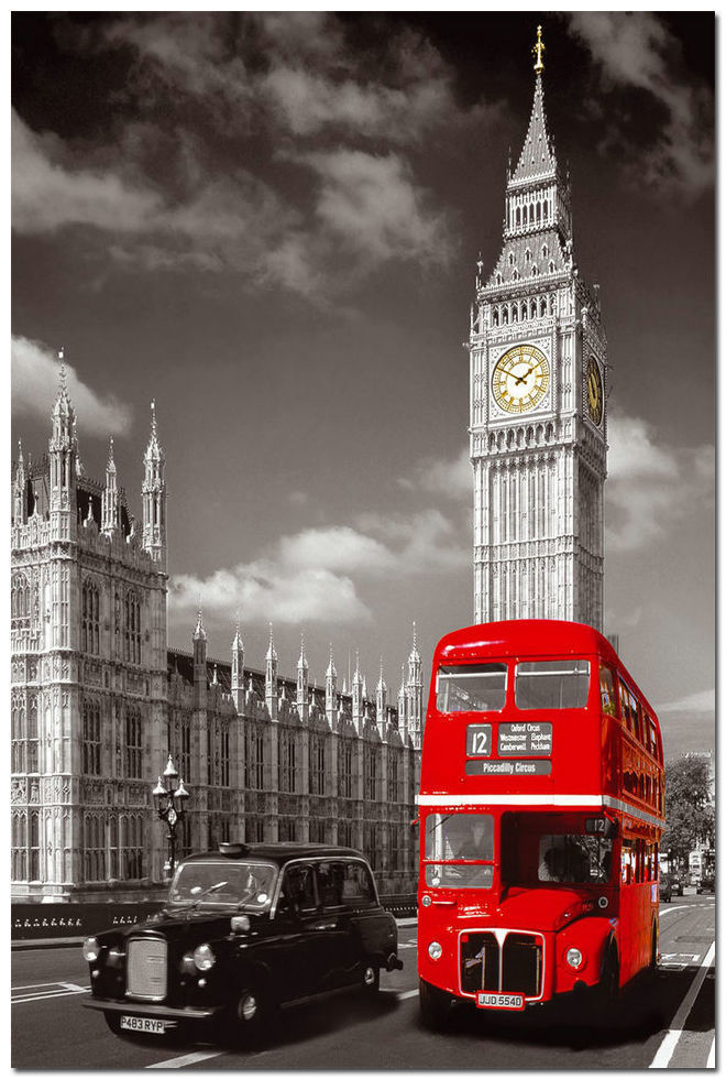 Removable Mural Home Decor 20x30 inches Wall Sticker Top Selling Red London Bus With Big Ben Poster(China (Mainland))