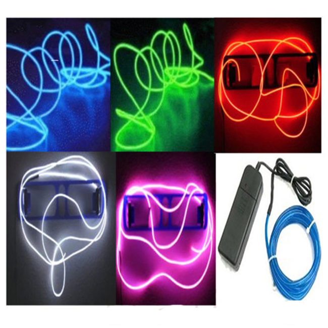 N683 2015 1M LED Light Glow Strip Lights EL Wire String Strip Rope Flexible Neon Tube Car Dance Party&Controller Decorative(China (Mainland))