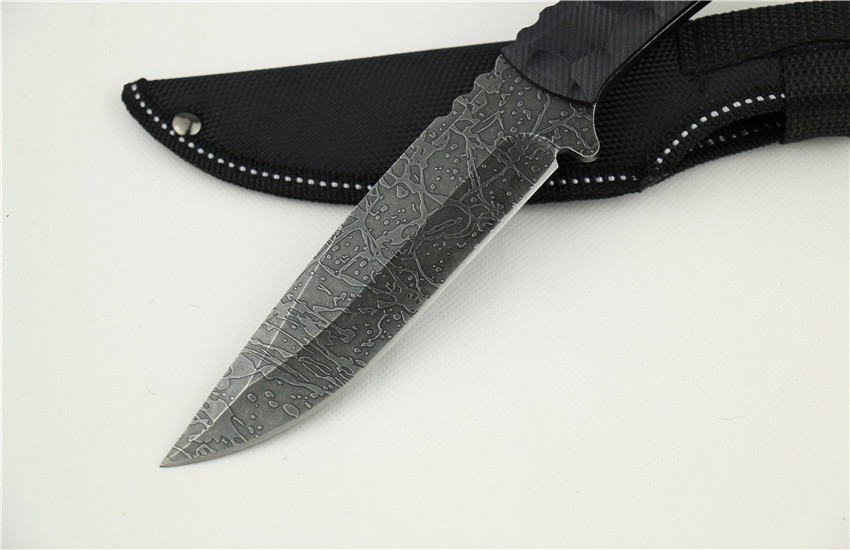 Buy Full Tang Fixed Blade Survival Knife Messy Milling Pattern Tactical Straight Knife 1666# cheap