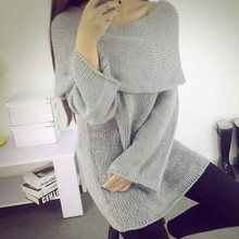 Free Shipping 2016 New Loose Gray Chic Tops Women's Sweater Sexy Elegant Slash Neck Pullovers Thin Sweaters for Woman