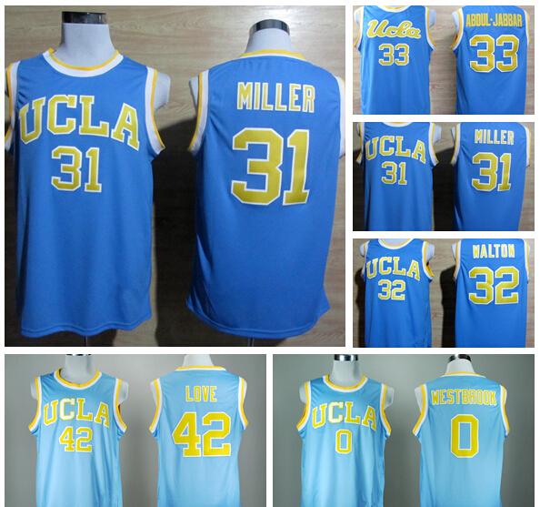 31 реджи миллер колледж джерси дешевые баскетбол кофта ucla брюинз 42 кевин лав 33 карим абдул джаббар 0 рассел уэстбрук
