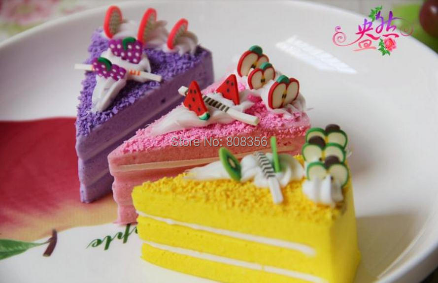 HOT 30Pcs/lot 7cm Length Artificial Fruit Cream Dessert Simulation Bread Fake ake Six Colors Food Model Wedding Shoot Props(China (Mainland))