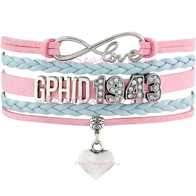 Custom-Infinity Love GPhiD 1943 Heart Bracelet Gamma Phi Delta Sorority Blue Pink Leather Wrap Bracelet Adjustable-Drop Shipping(China (Mainland))