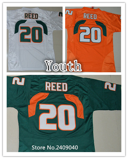2016 New Youth #20 Ed Reed Orange Green White Color Kids College Football Jerseys Stitched Size S,M,L,XL(China (Mainland))