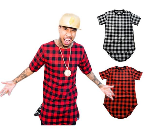 summer t shirt men Hip Hop Casual Plaid t shirt men Star Hiphop Tees Streetwear Swag
