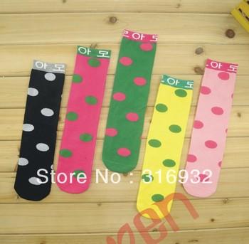 G3 Cotton knee-high baby girl's fashion socks polka dot princess stockings , 4pairs/lot , free shipping