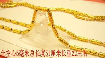 Christmas gift Pure gold Gold necklace male 24k gold solid hollow necklace marry gold chain 999 fine gold about 51cm 22g