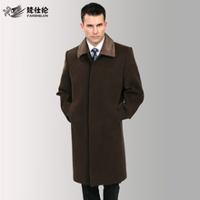 Free Shipping! Autumn and Winter Men Long Design Wool Cashmere Overcoat Male Quinquagenarian Brand Black Overcoat/Size:M-XXXL(China (Mainland))