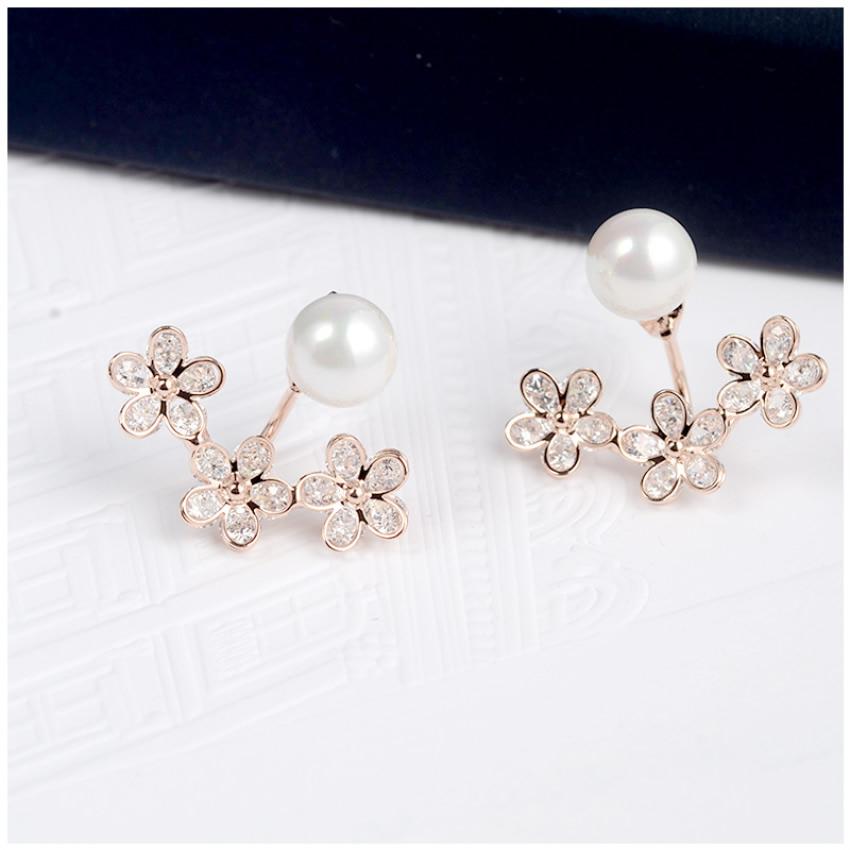 luxury 2016 Fashion Elegant 18K Gold Plated flowers Crystal ZA Ear Jacket Double Sided Swing pearl ircon Stud Earrings zhonglv(China (Mainland))