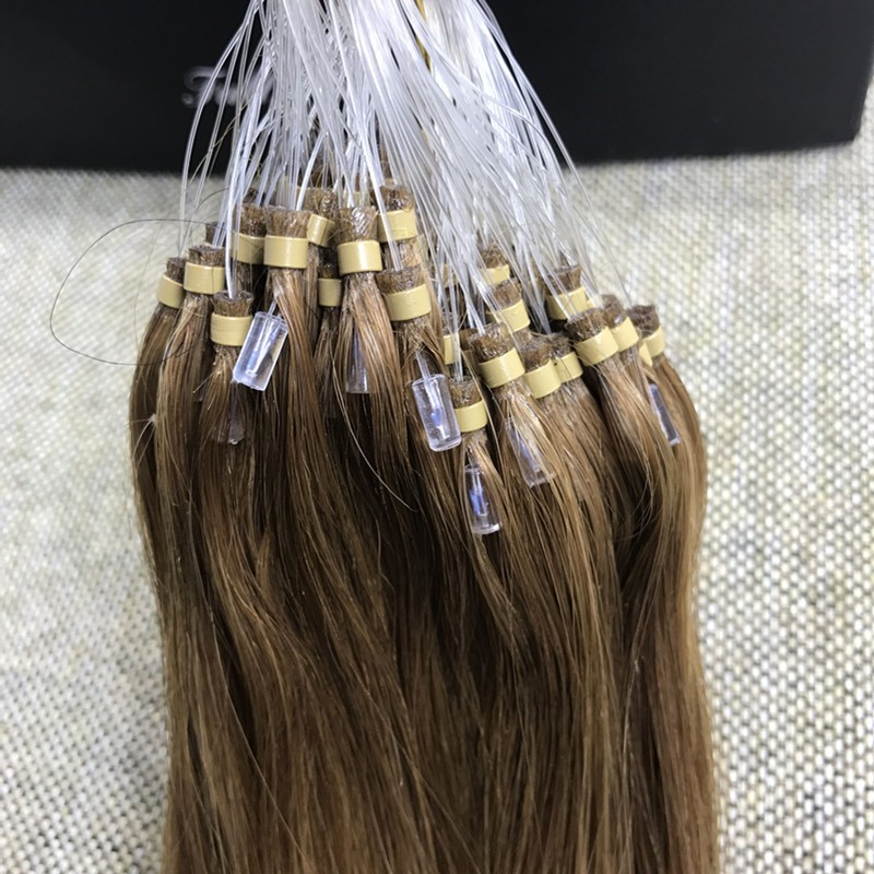 Full Shine Micro Loop Ring Brazilian Remy Human Hair Extensions Color #8 Ash Brown Straight 1g/s 50gram Cabello Extension Humano