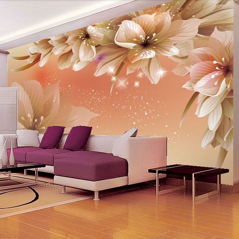 Modern Fashion Wall Mural Floral Photo Glitter Wallpaper Modern Home Decor Wallpaper Personalized For Sitting Room Sofa Backdrop(China (Mainland))