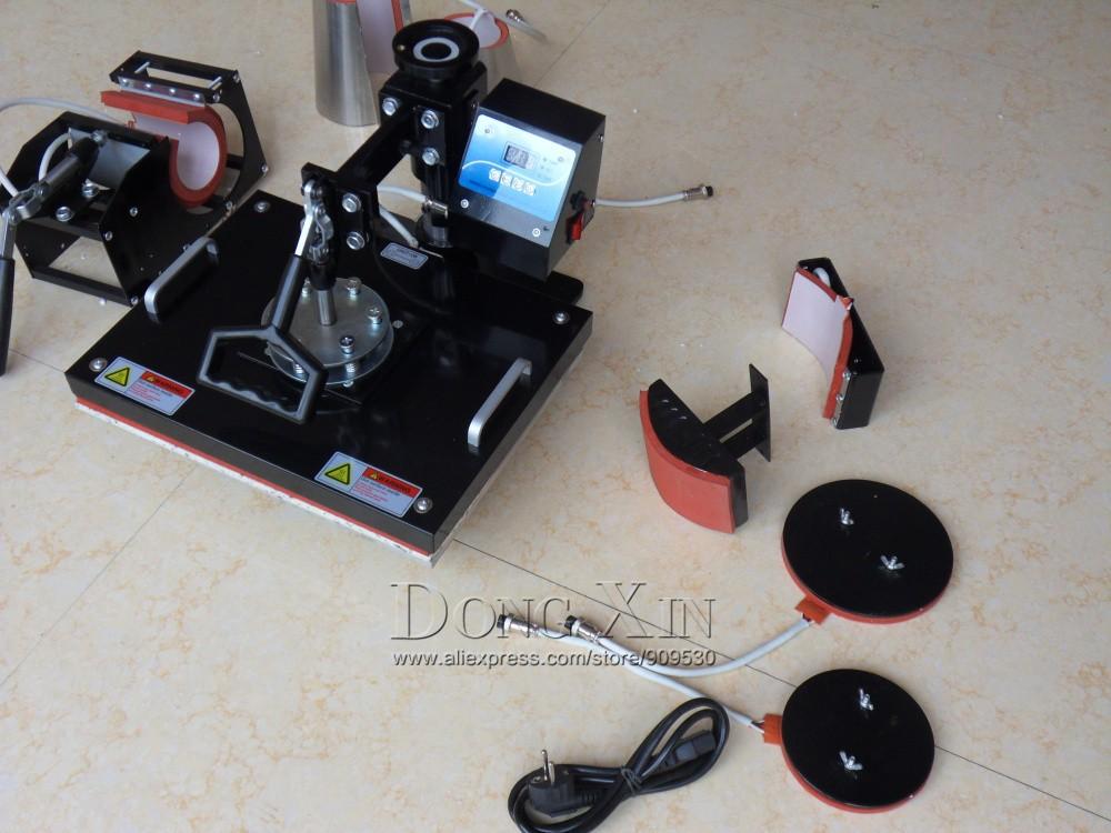 Купить 8 в 1 Combo теплопередачи машины для кружка крышка плиты печать на Футболках 8in1 машина давления жары печатная машина