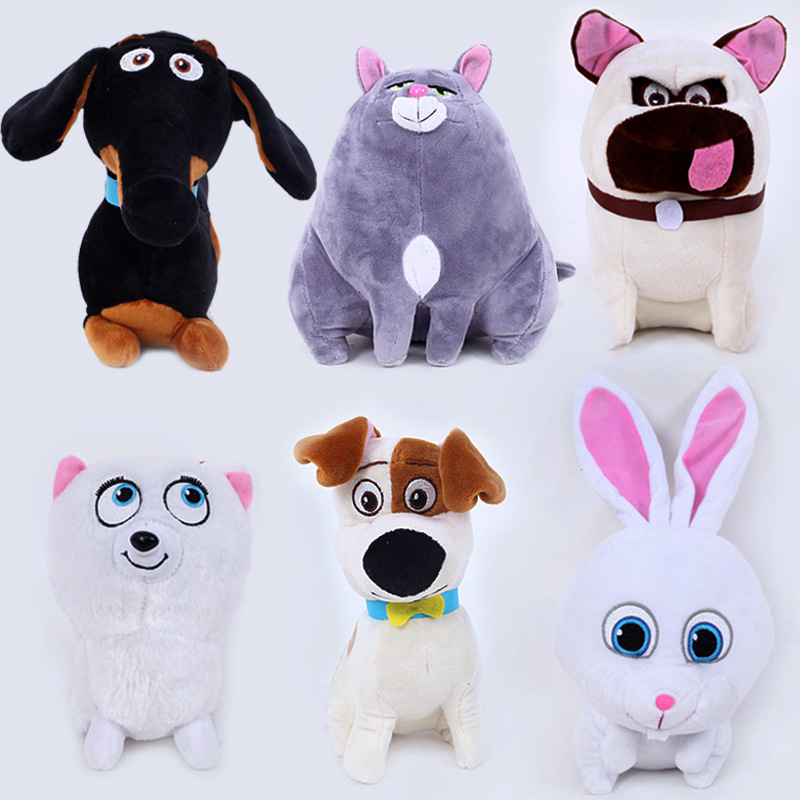 Hot Sale 1pc 20cm-30cm The Secret Life Of Pets Plush Toys 6 Styles Dogs & Cats & Rabbits Soft Stuffed Animal Dolls For Kids Gift(China (Mainland))
