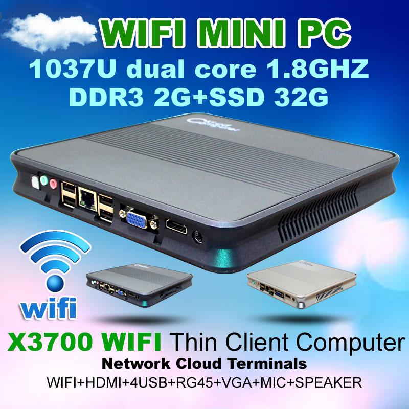 50%off 2G RAM 32GB SSD Mini PC X3700 Wifi Thin client Intel 1037U Network cloud terminal Graphics super Mini Desktop Computer(China (Mainland))