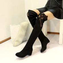 2016 botas planas mujeres largo de encaje rodilla botas más el tamaño 11 de la moda de invierno botas de las mujeres hechas a mano zapatos de Cuña botas de Nieve Ocasionales botas(China (Mainland))