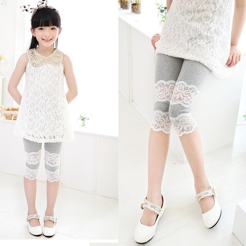 2015 New Korean Girls Calf-length Lace Leggings Toddler patchwork short Pants Cotton Kids capris trousers(China (Mainland))
